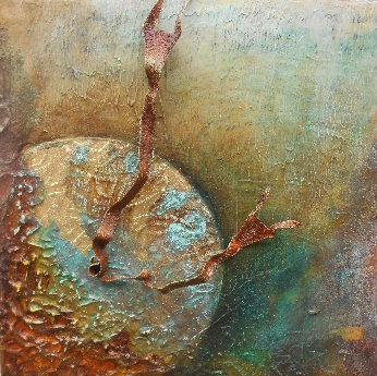 Grasping Time - 8x8 mixed media on wood